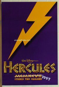 a076 HERCULES DS purple teaser one-sheet movie poster '97 Walt Disney