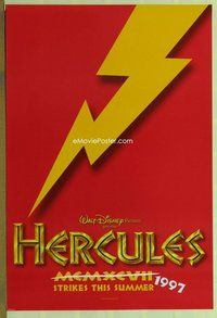 a077 HERCULES DS red teaser one-sheet movie poster '97 Walt Disney