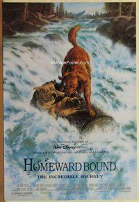 a080 HOMEWARD BOUND DS one-sheet movie poster '93 Walt Disney animals!