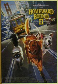 a081 HOMEWARD BOUND 2 DS one-sheet movie poster '96 Lost in San Francisco!