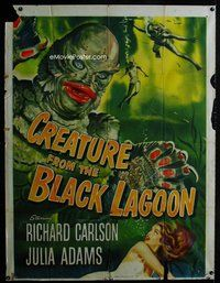 f001 CREATURE FROM THE BLACK LAGOON incomplete three-sheet movie poster '54