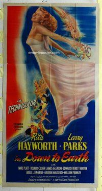 f069 DOWN TO EARTH three-sheet movie poster '46 great image of Rita Hayworth