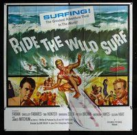 f336 RIDE THE WILD SURF six-sheet movie poster '64 Fabian, great image!