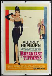 s001 BREAKFAST AT TIFFANY'S linen one-sheet movie poster '61 Audrey Hepburn