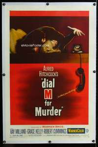 s108 DIAL M FOR MURDER linen one-sheet movie poster '54Hitchcock,Grace Kelly