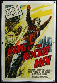 s013 KING OF THE ROCKET MEN linen one-sheet movie poster '49 cool serial!