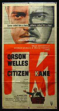 p011 CITIZEN KANE three-sheet movie poster R56 Orson Welles classic!