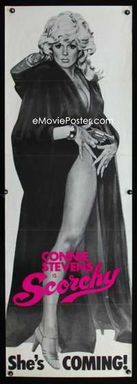 p043 SCORCHY door panel movie poster '76 super sexy Connie Stevens!