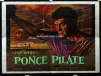 p051 PONTIUS PILATE French four panel movie poster '61 cool Jean Mascii art!
