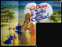 p049 LADY & THE TRAMP 3/4 of French 8panel movie poster '55 Disney classic