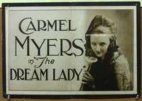 p014 DREAM LADY half-sheet movie poster '18 giant image of Carmel Myers!