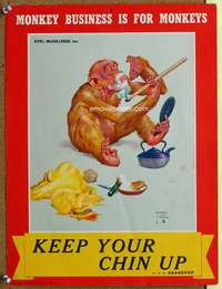 p074 KEEP YOUR CHIN UP war poster '40s Lawson Wood