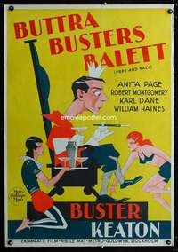 y004 FREE & EASY Swedish movie poster '30 cool art of Buster Keaton!