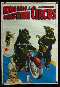 b024 KING BROS & CRISTIANI COMBINED CIRCUS poster 1950s