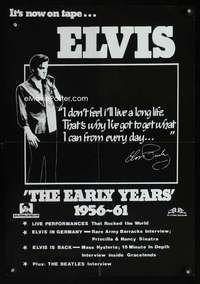 b065 ELVIS THE EARLY YEARS special video poster '80s