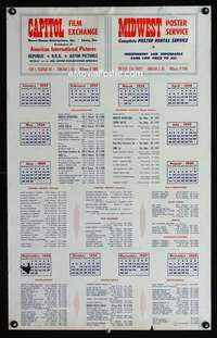b046 CAPITOL FILM EXCHANGE/MIDWEST POSTER SERVICE calendar poster '59