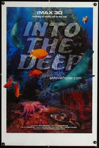 b070 INTO THE DEEP special IMAX movie poster '94 fish in 3-D!