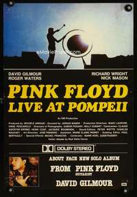 b056 PINK FLOYD Italian special movie poster '72 in Pompeii!