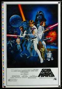 b001 STAR WARS printer's test style C 1sh movie poster '77 rating box