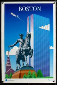 b044 BOSTON INDEPENDENCE AIR travel poster '05 Air travel!