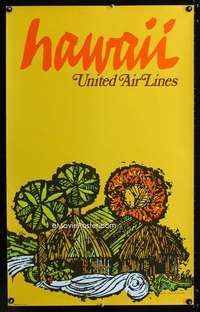 b039 HAWAII UNITED AIR LINES travel poster '67 Barry art!