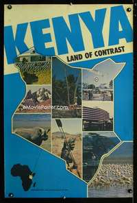 b033 KENYA LAND OF CONTRAST travel poster '50s Africa!