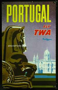 b036 PORTUGAL FLY TWA travel poster '60s air travel!