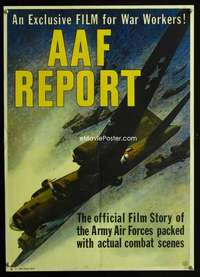 b022 AAF REPORT war movie poster '44 Army Air Force!