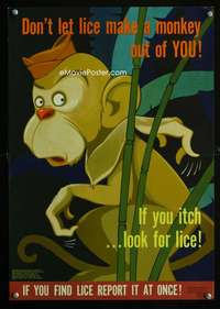 b021 DON'T LET LICE MAKE A MONKEY OUT OF YOU war poster '44