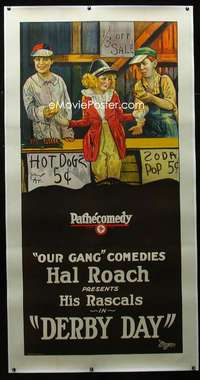 d015 DERBY DAY linen three-sheet movie poster '23 Our Gang, Hal Roach!