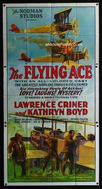 p315 FLYING ACE three-sheet movie poster '26 Norman black cast aviation!