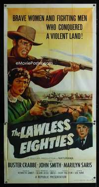 p401 LAWLESS EIGHTIES three-sheet movie poster '57 Buster Crabbe