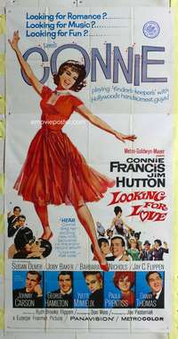 p407 LOOKING FOR LOVE three-sheet movie poster '64 Connie Francis, Jim Hutton