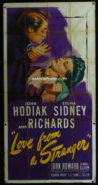 p410 LOVE FROM A STRANGER three-sheet movie poster '47 Sylvia Sidney