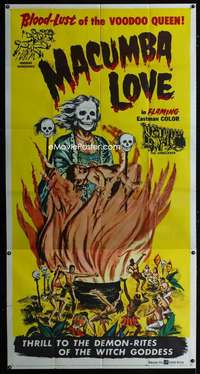 p412 MACUMBA LOVE three-sheet movie poster '60 cool voodoo horror art!