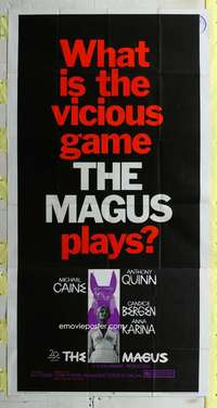p413 MAGUS three-sheet movie poster '69 Michael Caine, Anthony Quinn, Bergen