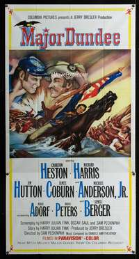 p414 MAJOR DUNDEE three-sheet movie poster '65 Sam Peckinpah, Charlton Heston