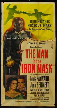 p415 MAN IN THE IRON MASK three-sheet movie poster R47 Louis Hayward