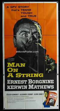 p416 MAN ON A STRING three-sheet movie poster '60 Ernest Borgnine, Mathews