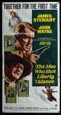 p417 MAN WHO SHOT LIBERTY VALANCE three-sheet movie poster '62 Wayne, Stewart