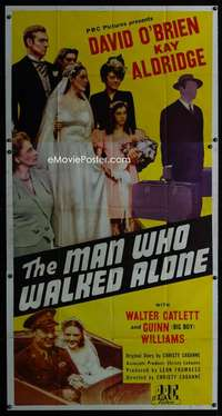 p418 MAN WHO WALKED ALONE three-sheet movie poster '45 at the wedding party!
