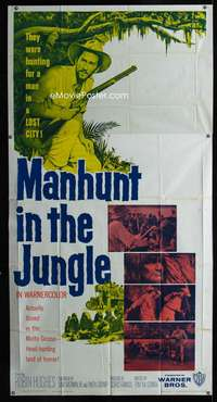 p419 MANHUNT IN THE JUNGLE three-sheet movie poster '58 Matto Grosso safari!