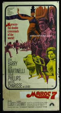 p420 MAROC 7 three-sheet movie poster '67 Gene Barry, Elsa Martinelli