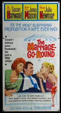 p422 MARRIAGE-GO-ROUND three-sheet movie poster '60 Susan Hayward, Newmar