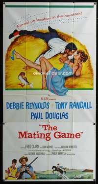 p424 MATING GAME three-sheet movie poster '59 Debbie Reynolds, Tony Randall