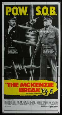 p425 McKENZIE BREAK int'l three-sheet movie poster '71 Brian Keith, World War II