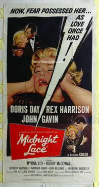 p427 MIDNIGHT LACE three-sheet movie poster '60 Doris Day, Rex Harrison