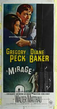 p430 MIRAGE three-sheet movie poster '65 Gregory Peck, Diane Baker