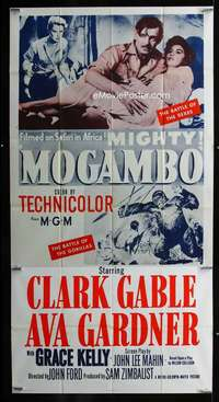 p433 MOGAMBO three-sheet movie poster R60s Clark Gable, Grace Kelly, Africa!