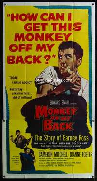 p434 MONKEY ON MY BACK three-sheet movie poster '57 Mitchell, drug classic!